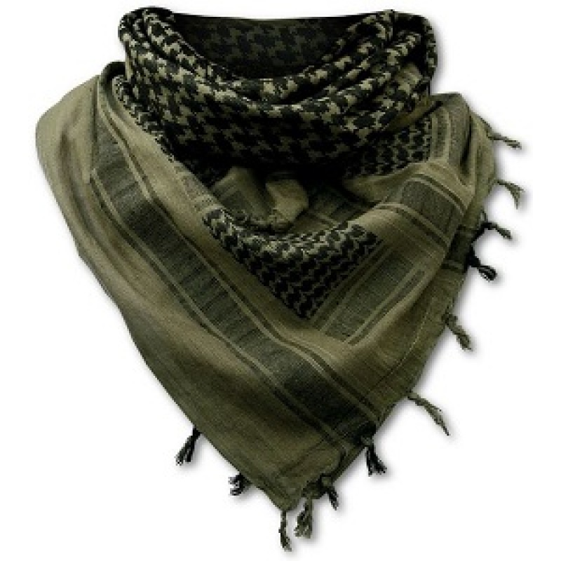 The scarf gained popularity during the Iran-Iraq war as a sign of Shi'a resistance against Saddam. The Chafiyeh is also worn by Basij members of the Iranian Revolutionary Guard Corps, as well as occasionally by members of Iraq's Popular Mobilization Forces. these keffiyeh, usually cotton and in military olive drab or khaki with black.