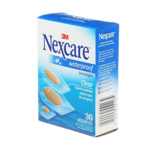 Nexcare Waterproof Bandages, Assorted, 30/Pack